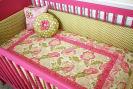 hot pink white and green custom homemade baby girl nursery crib bedding set