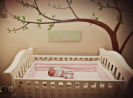 vintage cherry blossom baby girl nursery wall mural theme crib bedding set