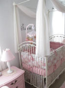 elegant pale pastel pink white and metal iron baby girl nursery canopy crib bedding set theme decor