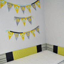 Yellow gray lime green navy blue and black baby nursery crib bedding with homemade felt wall banner