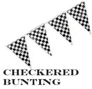 Black and white checkered flag bunting for a vintage cars theme baby nursery wall or window