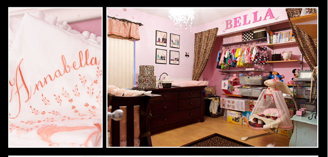 Baby girl princess nursery with pink and brown painted wall stripes, exotic leopard print fabrics and vintage decor