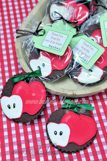 Fudge Cookies decorated with red apples with labels. Homemade party favors for an Apple of My Eye Baby Shower
