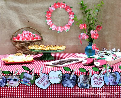 Fall red apple theme baby shower dessert table