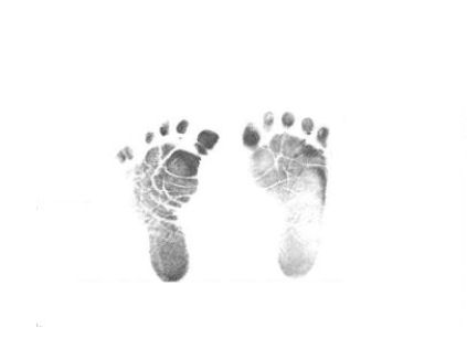 Infant baby girl footprints pictures.  Printable images to use for newborn baby shower invitations, Christmas ornaments and crafts