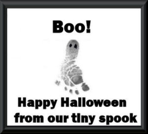 Newborn baby girl footprints Halloween trick or treat ghost craft idea