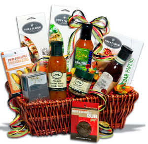 BBQ grilling theme gift basket for new dads.
