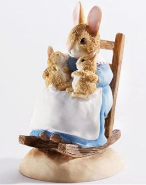 Beatrix Potter Mommy Bunny Rabbit with Babies in the Nursery Rocking Chair