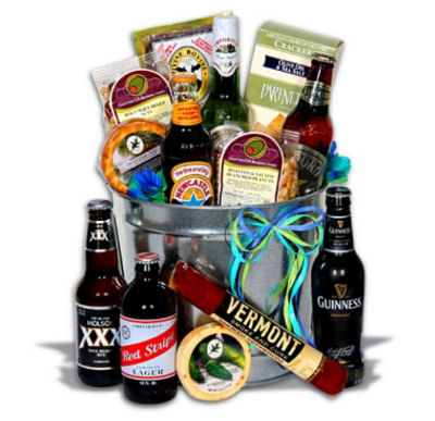 Beer and snack gift basket for new dads.