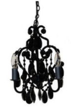 Small elegant black baby nursery chandelier with beads and crystals