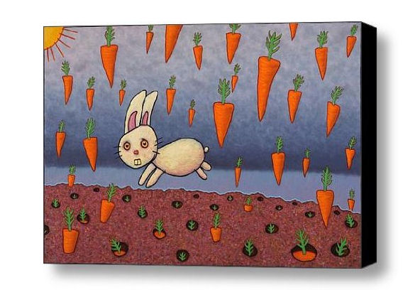 Funny bunny rabbit and carrots wall art painting