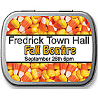 Cute candy corn party favor ideas.  Personalized candy corn mint tins.