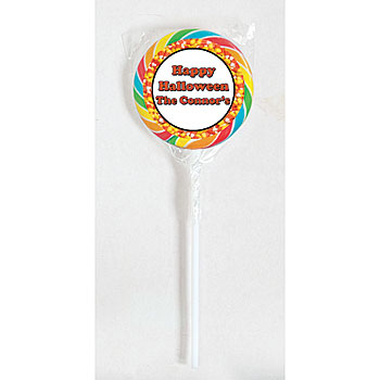 Candy corn theme lollipop labels