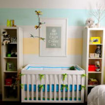 Neutral aqua blue and yellow citrus fruit color baby nursery wall painting technique