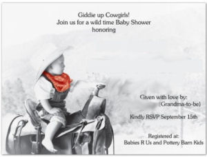 Personalized baby cowboy and cowgirl baby shower invitations with a picture of a baby on a horse wearing a cowboy hat and a red bandanna