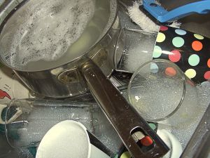 Save money and time by washing a sinkful of dirty dishes in the dishwasher!