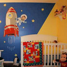 Navy blue red and yellow Curious George astronaut outer space nursery a moon and stars wall mural