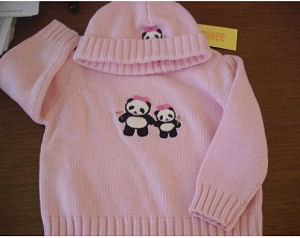 Baby girl pink crochet panda bear baby beanie hat and sweater set.
