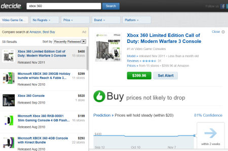 Decide.com Xbox 360 purchase recommendation