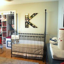Baby girl blue, gray and white with dark pink nursery