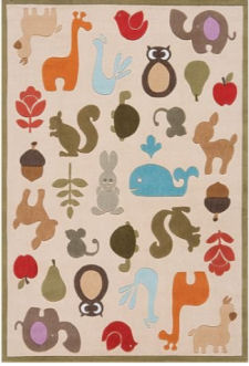 Baby owl, whitetail deer, fox, raccoon and woodland creatures forest nursery area rug