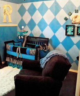 Blue and white diamonds argyle painting on a baby boy nursery room wall