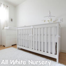 All solid white nursery for a baby boy