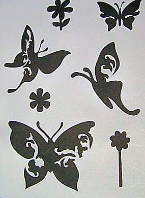 Butterflies and flower stencil pattern sheet