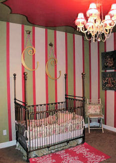 Pink and Green Wall Paint in Stripes for a Baby Girl Nursery