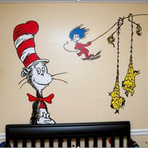 Bright Fun Unisex Gender Neutral Dr Seuss Cat in the Hat Thing One and Thing Two Nursery