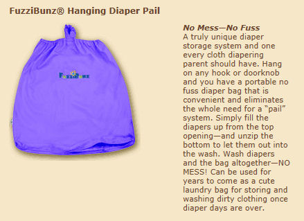 FuzziBunz Hanging Diaper Pail