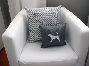 beagle silhouette pillow on contemporary modern white slipcover nursery chair
