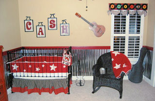 Ideas for using guitar wall stickers decals and decorations to decorate a baby boy's nursery.