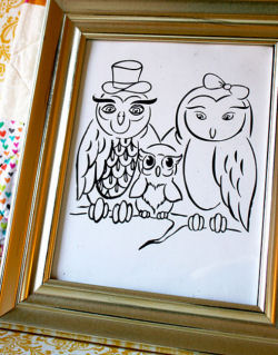 Original owl theme artwork for Hadley's nursery