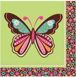 Hippie Chick Flower Power 1960s Pink, Lime Green, Brown and Aqua Blue Butterfly Baby Shower Napkins