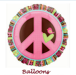 Hippie Chick Funky Peace Sign Mylar Party Balloons