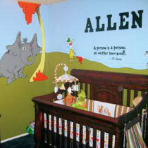 Inspirational Dr Seuss Horton Hears a Who baby boy nursery with painted wall mural and wall quote decals