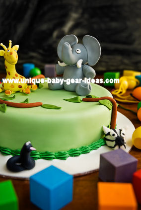 Jungle Safari Theme Baby Shower Cake Decorated with Fondant Elephants, Giraffes, Zebras and a (YIKES) Friendly Boa Constrictor