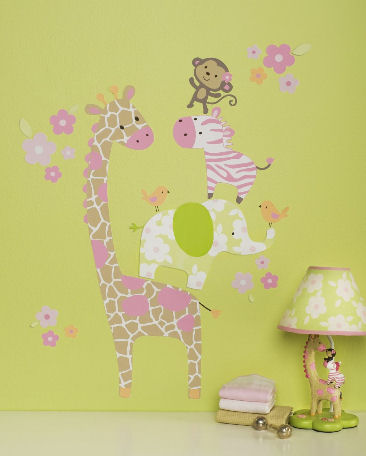 Jungle baby nursery wall decals with monkey elephant zebra and giraffe stickers