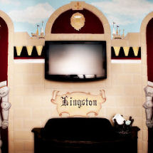 Medieval king's castle baby boy nursery theme with knights armor and fleur de lis decor