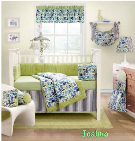 Lime green and black baby nursery crib bedding set.
