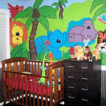Bright and Lively Jungle theme baby nursery wall mural with giraffes, lions, tigers, hippos and elephants