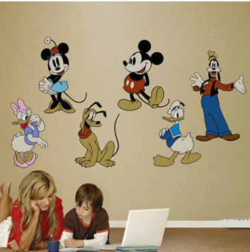 Baby Mickey Mouse Wall Decal Mickey and Minnie Mouse, Daisy and Donald Duck and Goofy Disney Cartoon Characters Wall Stickers