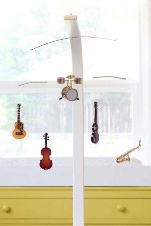 Custom musical instruments baby crib mobile perfect for a music theme nursery