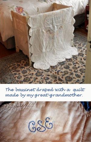 Baby bassinet draped with monogram, vintage crib quilt
