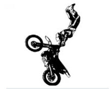 Large motocross vinyl decal featuring a rider doing dirt bike tricks.