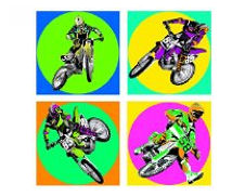Kids bright colorful custom vinyl motocross wall decals and stickers featuring dirt bikes to complement your wallpaper