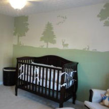 Forest green Peter Rabbit nursery with a deer and mallard ducks wall mural painting