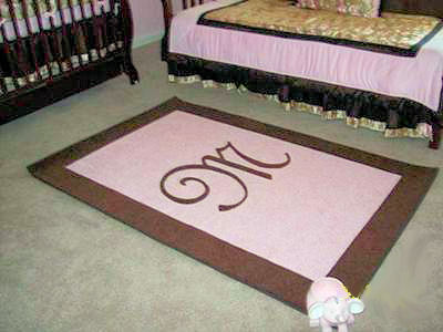 Baby Room on Baby Girl S Pink And Brown Custom Rectangle Nursery Area Rug With A