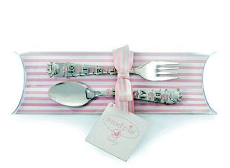 Little infant princess spoon and fork feeding set